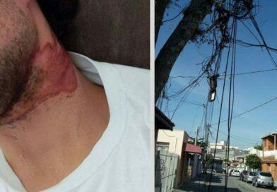 Motociclista sofre acidente em cabos telefônicos