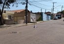 Asfalto está afundando no Jardim Guanabara