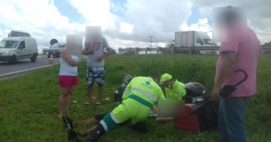Motociclista sofre acidente em rodovia