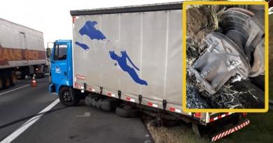 Eixo de caminhão quebra na Bandeirantes