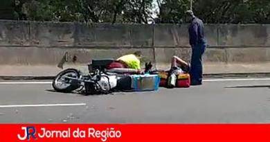Motociclista sofre acidente na Anhanguera
